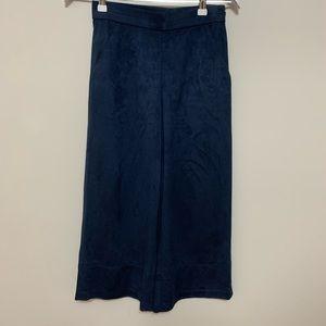 Zara Blue Velvet Wide Leg Cropped Culottes Pants